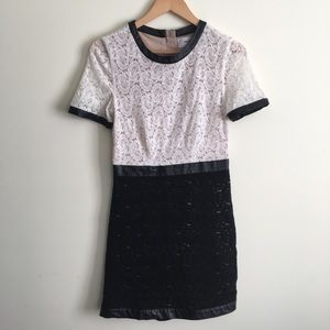 Walter Baker | Black and White Lace Dress Small